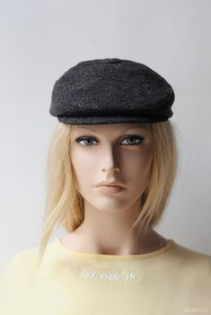 7619ac83b20 Womens ivy cap charcoal Womens newsboy hat Mens newsboy cap Baker boy hat  Grey newspaperboy hat Gray tweed cap Flat hat Unisex hat Wool hat