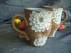 Ceramic Mug Cup with Zinnia Flowers in Sky di clayshapergallery, $30,00