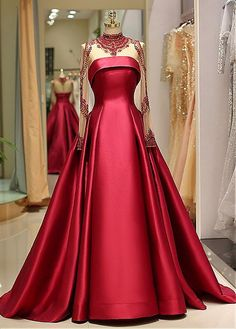 Prom Dress For Teens, 2019 Long Sleeve Prom Dresses High Neck Burgundy Long Prom Dress Satin Evening Dress, cheap prom dresses, beautiful dresses for prom. Best prom gowns online to make you the spotlight for special occasions. Prom Dresses Long With Sleeves, Ball Dresses, Formal Dresses, Red Formal Gown, Long Dresses, Party Dresses, Evening Dress Long, Evening Dresses, Evening Gown With Sleeves