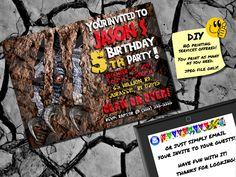 JURASSIC PARK RAPTOR Inspired Printable Birthday Invite. Emailable Invite Evite. Cool Dinosaur Invitation!!! by PrintablePartyZone on Etsy https://www.etsy.com/listing/208951799/jurassic-park-raptor-inspired-printable