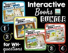 "My first 4 interactive books for addressing wh- questions are now together in a money saving BUNDLE!  Separately, they have a value of over 14 dollars, but you can now get them bundled at a 20% discount. Teaching the vocabulary of ""what, who, where, when"" along with teaching how to answer wh- questions is tough!"