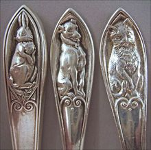 William B. Kerr Sterling Silver Baby Knife Fork Spoon Set – Rabbit Dog Cat 6002