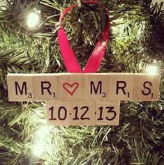 Mothers Day Crafts For Kids Discover Wedding Ornament Wedding Scrabble Ornament Engagement Ornament Wedding Christmas Gift Engagement Gift Scrabble Ornament Mr. Diy Christmas Ornaments, Homemade Christmas, Christmas Projects, Diy Christmas Gifts, Holiday Crafts, Christmas Holidays, Handmade Ornaments, Christmas Gift Newlyweds, Santa Gifts