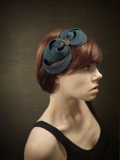 Teal Felt Headband Fascinator by pookaqueen on Etsy, $58.00