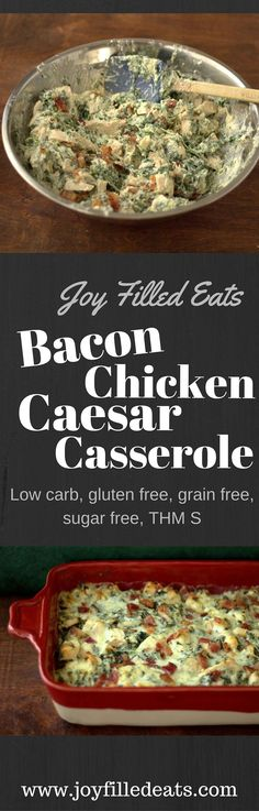 This grain free gluten free low carb THM S Bacon Chicken Caesar Casserole is great when you are pressed for time. It is easy flavorful and can be made ahead. Low Carb High Fat, Low Carb Keto, Thm Recipes, Cooking Recipes, Healthy Recipes, Pork Recipes, Recipies, Potato Recipes, Easy Low Carb Recipes