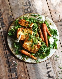 Honey and butter roasted carrot salad with haloumi and herb sauce - georgeats.com