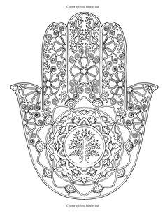 """Hand Drawn Adult Coloring Page Print - """"Hamsa Tree of Life"""" Más Hamsa Painting, Mandalas Drawing, Mandala Coloring Pages, Coloring Book Pages, Printable Coloring Pages, Zentangles, Mandala Buddha, Mandala Art, Fatima Hand"""