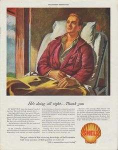 """Description: 1942 SHELL OIL vintage print advertisement """"He's doing all right ... Thank you""""-- It wasn't fun when the shrapnel knocked him out ... Oil is ammunition -- use it wisely -- Size: The dimensions of the full-page advertisement are approximately 11 inches x 14 inches (28cm x 36cm). Condition: This original vintage advertisement is in Very Good Condition unless otherwise noted ()."""