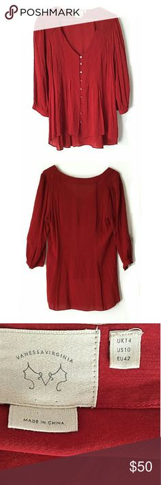 """Anthropologie """"Vanessa Virginia"""" Pintuck Blouse In good condition. No major signs of wear. Size 10. Smoke and pet free home. Ships within one day. Anthropologie Tops Blouses"""