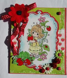 Challenge 17 - Strawberries - Precious Moments Strawberry Queen stamp, girl card, ladybirds, felt flower