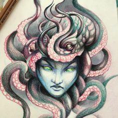 Octopus pencils illustration
