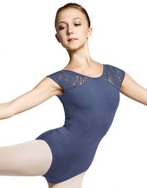 M5027LM - Mirella Peacock Plume Shoulder Cap Sleeve Leotard