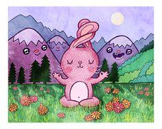 Bunny Yoga Bunny Print Nursery Art Bunny Art Yoga by MyZoetrope