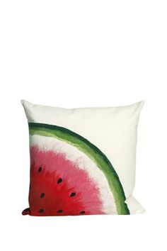 For a more soft take on a watermelon themed room this pillow would be perfect with watermelon coloured pillows and a white throw