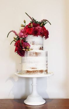 "red floral naked wedding cake; - click to see more ""The Most Sensational Floral Wedding Cakes"" - Featured Cake: Kiss My Cakes"