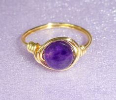 Amethyst wire wrapped ring Gold amethyst wire by GemmaJolee
