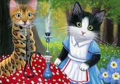 Tuxedo kitten cat caterpillar Alice in Wonderland fantasy original aceo painting #Miniature