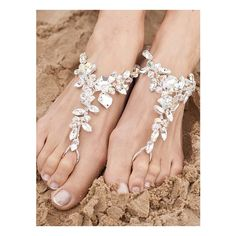 Beach Wedding Shoes ♥ / <3 Barefoot Beach Wedding Sandals found on Polyvore