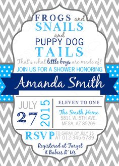 Boys Baby Shower Invitation in frogs, snail, and puppy dog tails theme with chevron, shades of blue and gray. Printable, digital file by SassyGraphicsDesigns