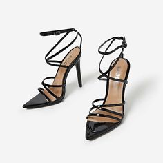 2018 newest PU summer sandals women high heels buckle strap pointed toe cross tied wedding shoes for ladies zapatos mujer Womens Summer Shoes, Womens High Heels, Pointed Toe Heels, Strappy Heels, Stilettos, Peep Toe, Ego Shoes, Patent Shoes, Black Heels