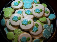 Baby shower cookies. Turtle matched the invitations.