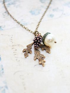 Nature Charm Necklace Pearl Acorn Pendant by apocketofposies