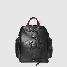 Gucci Bee embossed drawstring backpack