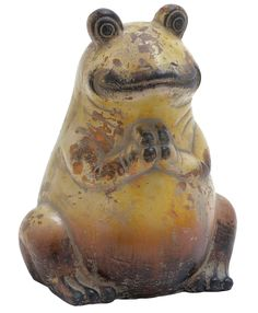 Woodland Imports Modern Classic Ceramic Frog With Weathered Painting Rustic Finish Home Decor Frog Statues, Animal Statues, Garden Statues, Garden Figurines, Weathered Paint, Outdoor Statues, Modern Ceramics, Decorative Objects, Modern Classic