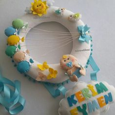 Erkek bebek kapı süsü kerim Eymen takı yastığı Diy And Crafts, Projects To Try, Wreaths, Sewing, Birthday, Inspiration, Babyshower, Names, Door Hangings