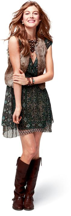 Love the vest, dress, & boots! Awesome outfit from Stella & Dot