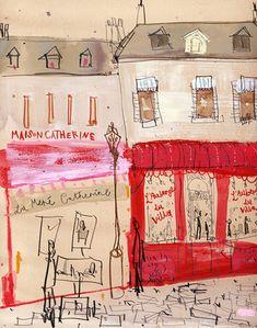 Maison Catherine, Paris   canvas print   20 x 25 cm   Clare Caulfield