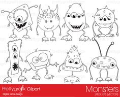 monsters digital stamp commercial use - PGDSPK391 #prettygrafik