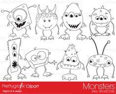 monsters digital stamp commercial use - PGDSPK391 #prettygrafik