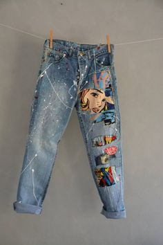 Levis 501 Vintage High Waist Denim Jeans Medium Blue Wash Authentic Gift Womens Straight Leg 25 26 27 28 29 30 31 32 33 34 35 36 Mom Jeans Levis 501 Vintage High Waist Denim Jeans Medium Blue Wash image 3 Source by Sweatheartangel jeans style Painted Jeans, Painted Clothes, Denim Jeans, Mom Jeans, Jeans Shoes, Vintage Jeans, Diy Clothing, Custom Clothes, Diy Clothes Vintage