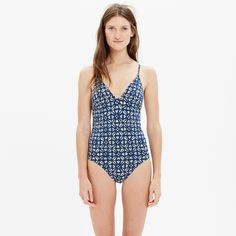 Tie-Back One-Piece Swimsuit in Iris Stamp : one-piece swimsuits | Madewell