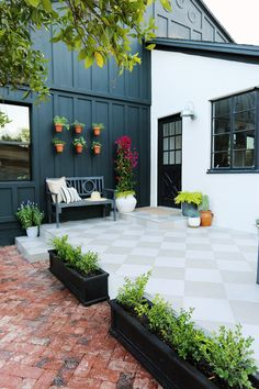 Home Interior Layout Evergreen Project: Side Porch Reveal - Juniper Home // Inexpensive Lowe's pavers in a checkerboard pattern.Home Interior Layout Evergreen Project: Side Porch Reveal - Juniper Home // Inexpensive Lowe's pavers in a checkerboard pattern Pergola, Evergreen House, Master Suite, Rustic Outdoor Decor, Porch Plans, Sweet Home, Deck, Side Porch, Brick Pavers
