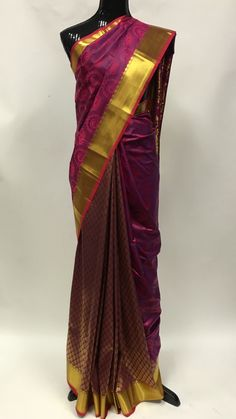 Heavy silk saree is fashioned with the beautiful heavy zari jacquard foliage patterns all over and the zari pallu contain abstract flower ,peacock design,& motifs with zari border that adds the look.