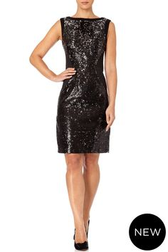 Ulla - Glitter in this short and shiny black and silver turning sequin dress. The black jersey panels and clever stitching on the sides give it a slimming effect. Fall Winter, Autumn, Sequin Dress, Turning, Stitching, Clever, Teal, Sequins, Glitter