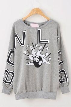 Loose Bowling Graphic Sweatshirt