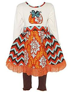 Girl's Thanksgiving Outfit - Chevron Pumpkin Dress for Toddlers Little and Big Girls, Dresses With Leggings, Dresses With Sleeves, Chevron Pumpkin, Girls Thanksgiving Outfit, Pumpkin Applique, Girl Outfits, Fashion Outfits, Fall Fashion, Chevron Dress