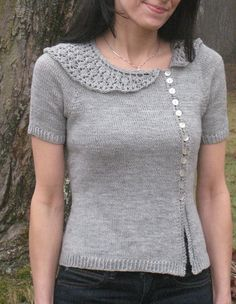 Iolanthe sweater. Awesome collar, love the button placement! #knit