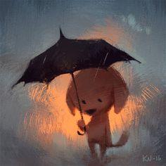 Aww...we wanna help this sad doggie shelter from the rain! Super #cute #art by Katri Valkamo