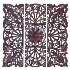 Three-piece wood wall decor with intricate leaf and openwork detail. Product: 3 Piece wall decor setConstruction Material: WoodColor: BrownFeatures: Lotus like carvings at the center and leaves at the cornersDimensions: H x W x D (overall) Carved Wood Wall Art, Wooden Wall Plaques, Wooden Wall Panels, Decorative Wall Panels, Wood Panel Walls, Panel Wall Art, Wooden Walls, Hand Carved, Wall Decor Set