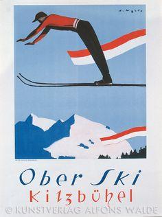 Travel poster for Kitzbühel, Austria. Illustration by Alfrons Walde, Ski Vintage, Vintage Ski Posters, Retro Poster, Vintage Art, Vintage Photos, Winter Illustration, Graphic Illustration, Illustrations, Retro Design