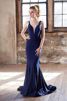 6b0495e13276 Tinaholy Couture T1708A Navy Ruffle Low Back Jersey Formal Gown Dress
