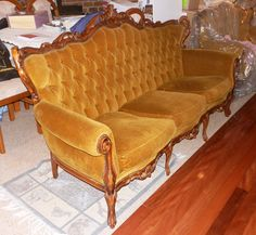 $200 plus - If you like this contact the seller and make an offer before anyone bids on it - French Louis Chesterfield 3 Seater Sofa - Antique Provincial Velvet Couch | eBay