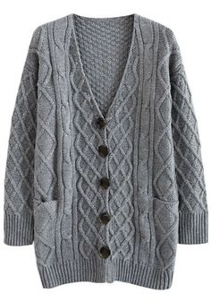Cable Knit Oversized Cardigan in Grey Oversized Knit Cardigan, Cable Knit Cardigan, Grey Cardigan, Cardigan Outfit Summer, Mode Style, Cardigans For Women, Pretty Outfits, Autumn Winter Fashion, Lana
