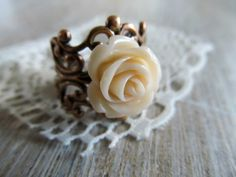 Soft peachy pink copper floral filigree ring   by SeptemberWillow, $11.00