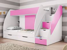 Buy Brand New Bunk Beds With Drawers And Storage, Pink, Option With 2 New Mattresses Bunk Bed With Stairs And Storage, Single Beds With Storage, Toddler Bed With Storage, Toddler Bunk Beds, Bunk Beds With Drawers, Twin Bunk Beds, Bed Storage, Modern Bunk Beds, Cool Bunk Beds