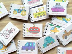 16 Transportation Vehicle Coloring Books as Kids Birthday Favors / Party Gift
